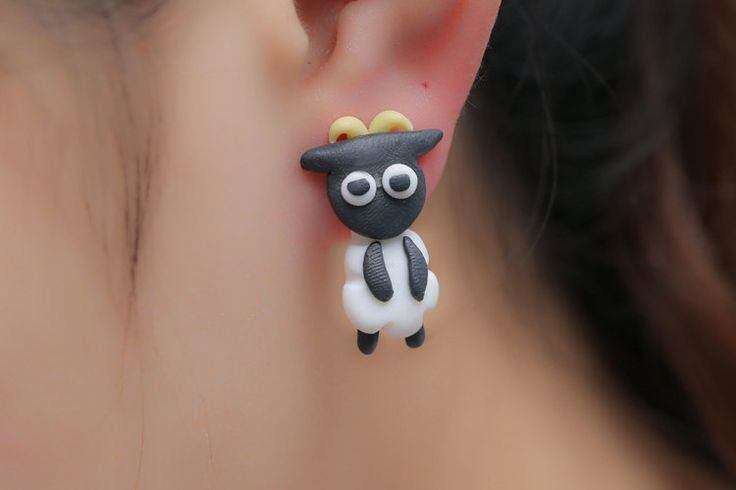 New to SpektroDesign on Etsy: Sheep Earrings Polymer Clay Handmade Black/White Stud 3D (9.90 USD)