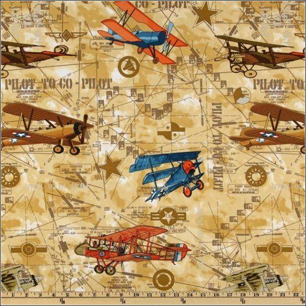 Vintage Airplane Fabric Hank Pinterest