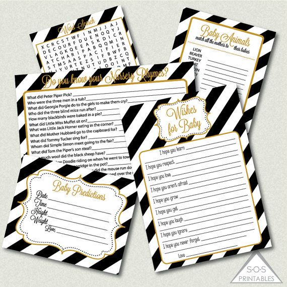 Gold, Black and White Baby Shower Games, Printable Shower Game, Word Search, Nursery Rhymes, Gender Neutral Baby Shower, printable pdf files
