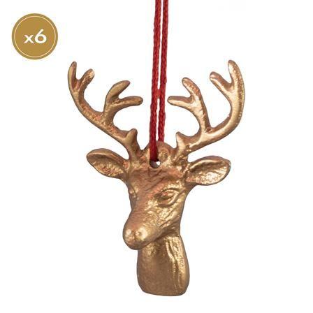 Panacea Set of 6 Deer Head Decorations, Copper