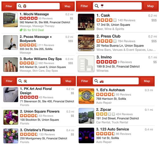 Yelp - Lets you use emoji to search for businesses. /via George More info