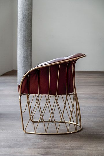 Equipal Chair in Solid Brass - designed in 1964 for the Mexican Embassy in NYC. 55 hand bend and fixed compenents with upholstered leather seat  / Designer - Pedro Ramírez Vázquez www.luteca.com