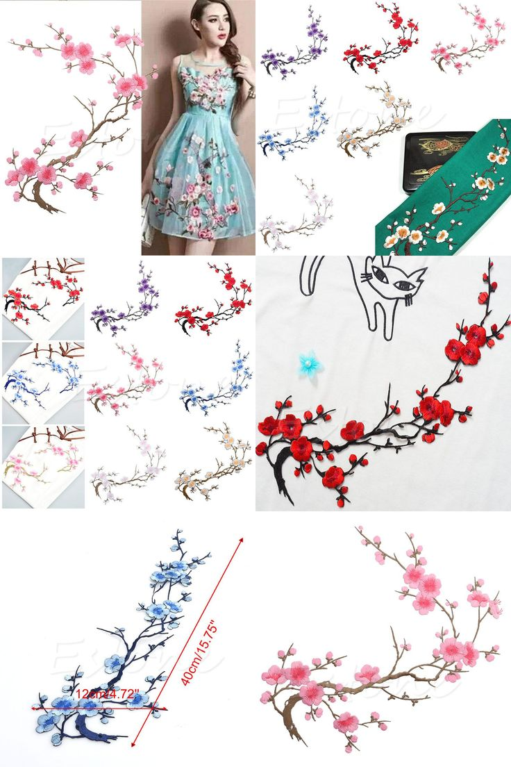 [Visit to Buy] Better Beautiful Plum Blossom Flower Embroidered Patch for sale Decor Iron-on embroidered patches for clothes parches bordados #Advertisement
