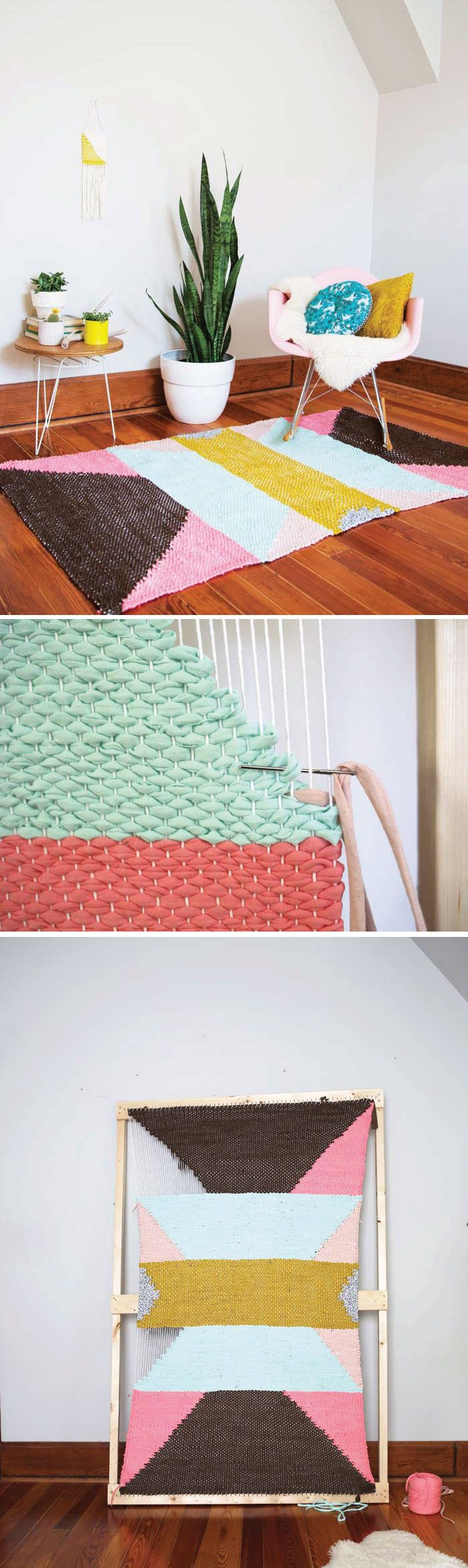 DIY Woven Rug by Rachel Denbow on the blog from her new book DIY Woven Art #DIYWovenArt