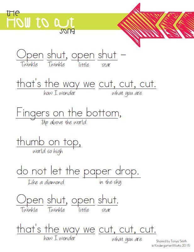 song to teach how to cut for kindergarten - KindergartenWorks