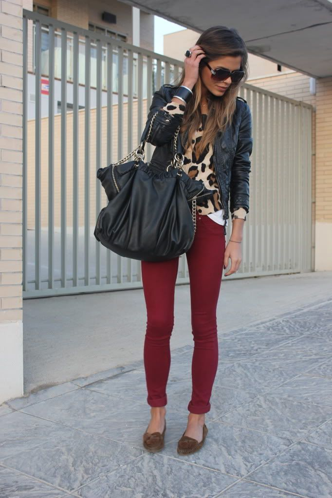 A nicely put together combination of a black leather bomber jacket and burgundy skinny jeans will set you apart effortlessly. Grab a pair of brown suede tassel loafers to instantly up the chic factor of any outfit.  Shop this look for $516:  http://lookastic.com/women/looks/sunglasses-tassel-loafers-skinny-jeans-tote-bag-crew-neck-sweater-bomber-jacket/4323  — Dark Brown Sunglasses  — Brown Suede Tassel Loafers  — Burgundy Skinny Jeans  — Black Leather Tote Bag  — Tan Leopard Crew-neck ...