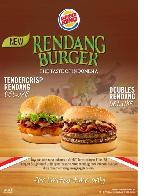 Celebrate Independence Day with our new custom made Rendang Burger! Only at Burger King!