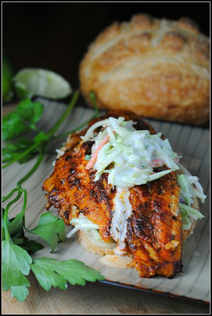 Open faced spicy fish sandwich