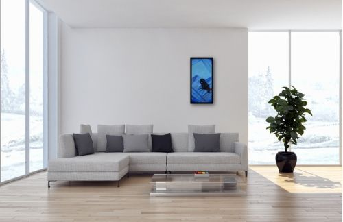 Eulen Gemälde Nr. 808 Waldemar geniesst die Aussicht von seinem Ast (2017) von Manuel Süess | Mehr erfahren: http://art-by-manuel.com/de/nr.-808-waldemar-geniesst-die-aussicht-von-seinem-ast-2017/