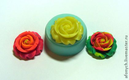 Форма, молд `Бутон розы 2` (арт.: 97). Силиконовая форма предназначена для изготовления изделий из пластики / полимерной глины и других материалов методом вдавливания, либо методом заливки.