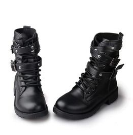 Strappy Black Motorcycle Ankle Army Boots Buckles