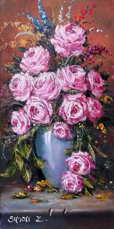 Roses in a blue vase by Zoltan Simon,  Oil, 40x20 cm.