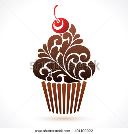 Vector cupcake icon logo Abstract cupcake illustration. Ornamental pattern chocolate cupcake with cherry isolated on white background