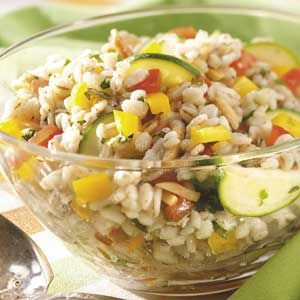 Veggie Barley Salad. I make a lot of this type of stuff-perfect for bringing to work for lunch and this is a great use for barley.