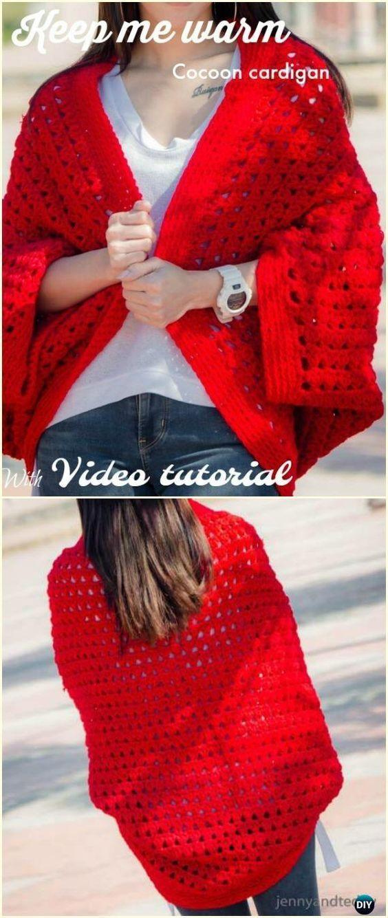 Crochet Keep me Warm Cocoon Cardigan Free Pattern &Video - Crochet Women Shrug Cardigan Free Patterns