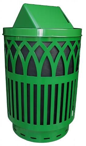 Witt 40 Gallon Covington Metal Outdoor City Trash Can Green