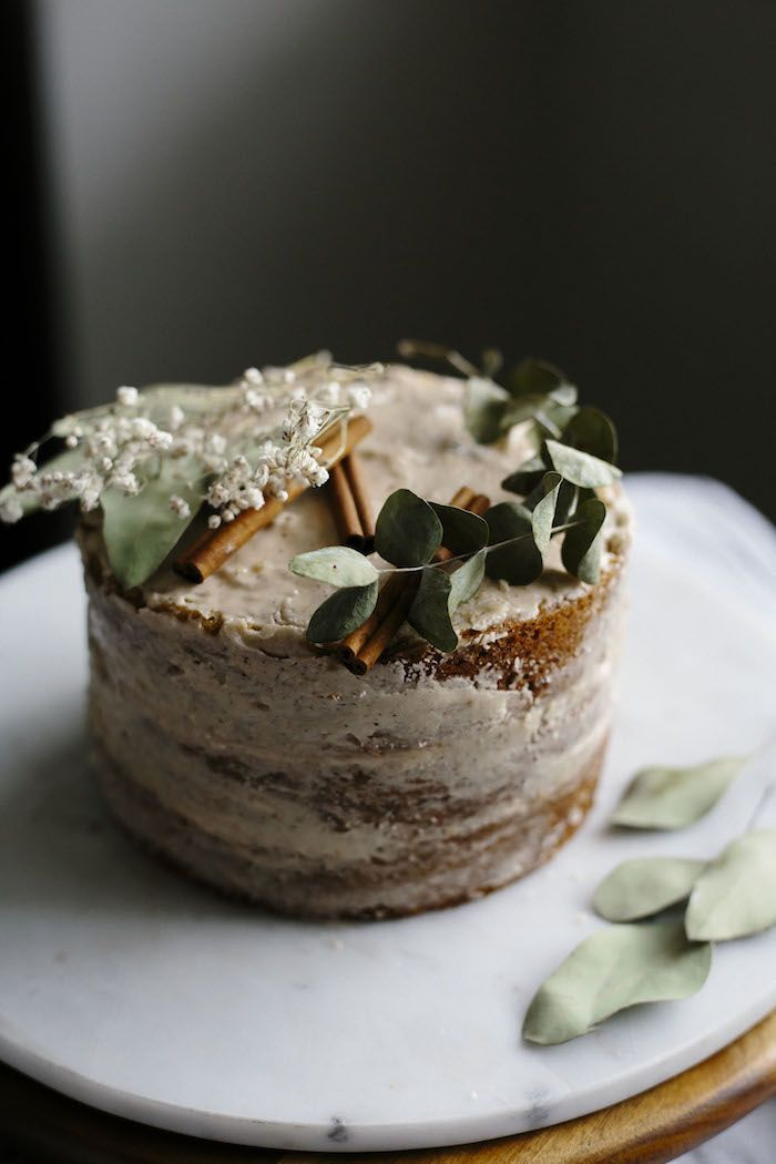 Vegan Vanilla Cake | This vegan vanilla cake is topped with a smooth chai spice icing--super moist and full of flavor! | thealmondeater.com #vegan
