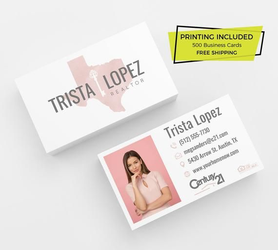 Pink State Realtor Printed Business Cards Printed Custom Etsy Printing Business Cards Photo Business Cards Realtor Business Cards