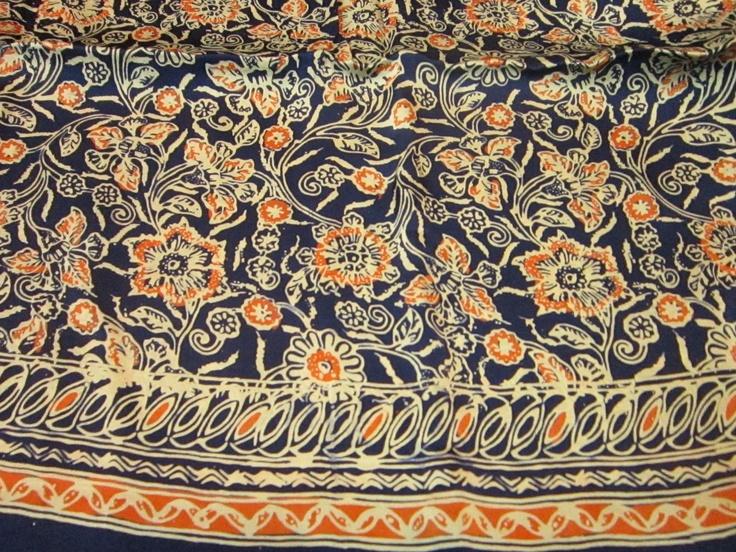 Hand waxed Batik on Silk fabric  2m x 1m