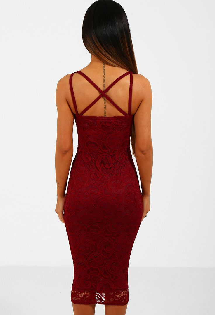 Diana Burgundy Lace Bustier Strappy Midi Dress | Pink Boutique