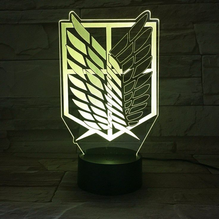1 X 7colorful 3d Led Night Lamp Step 1 Insert The Acrylic Plate Into The Base And Connect The Power Source By Usb Cabl 3d Light Led Night Lamp Attack On Titan
