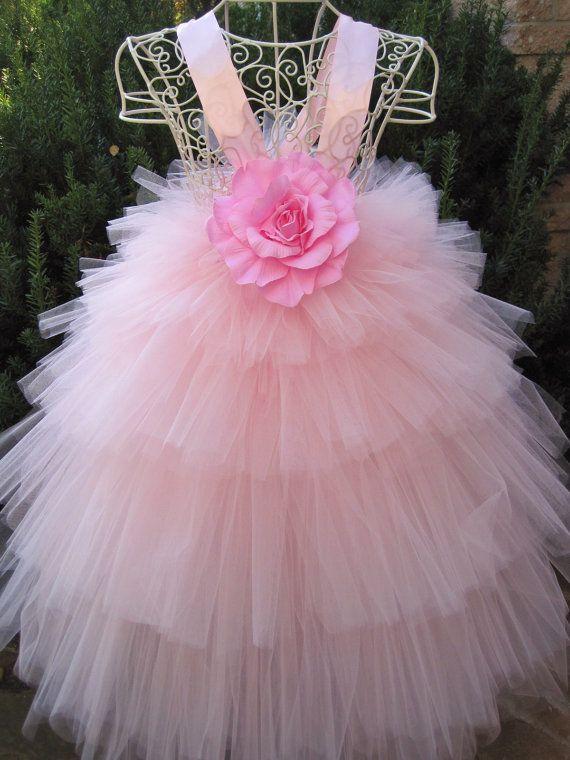 Tutu vestido rosa flor niveles de 5 niños 3-6 OOAK por ElsaSieron