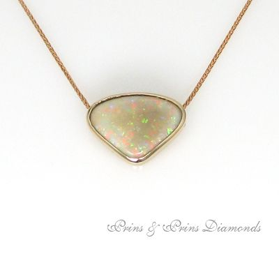 Opal and rose gold pendant