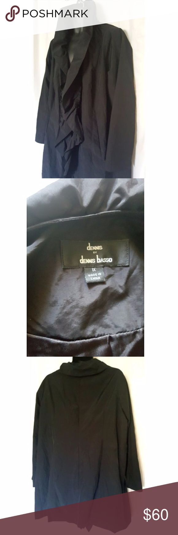 Water Resistant Raincoat Black Ruffle Size XL DENNIS BASSO Water Resistant Raincoat Black Ruffle Coat SIZE XL Note: NO BELT Like new See photos for approximate measurements From a smoke free, perfume free and pet free home Dennis Basso Jackets & Coats