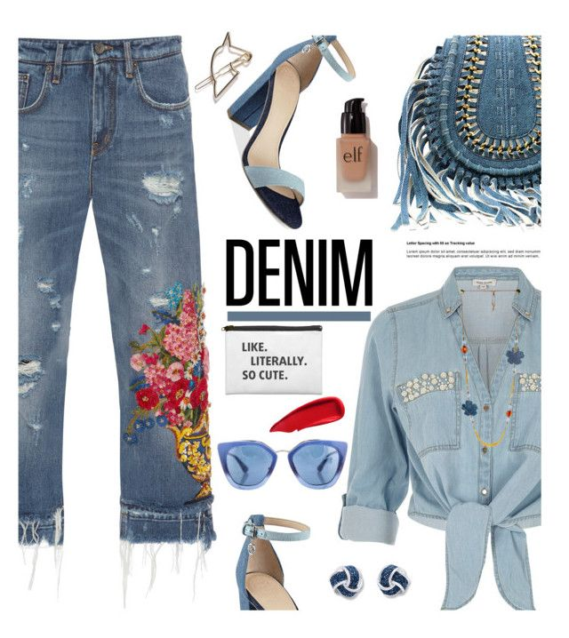 """Denim, Head to Toe"" by hamaly ❤ liked on Polyvore featuring Dolce&Gabbana, River Island, GUESS, e.l.f., Sisley, Prada, outfit, denim, trends and alldenim"