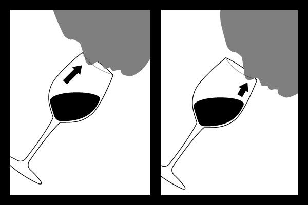 Nose placement diagram for the proper way to smell #wine.