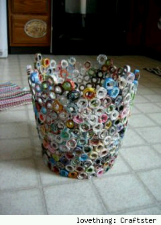 Paper Trash Bin Recycled Magazine Magazine Crafts