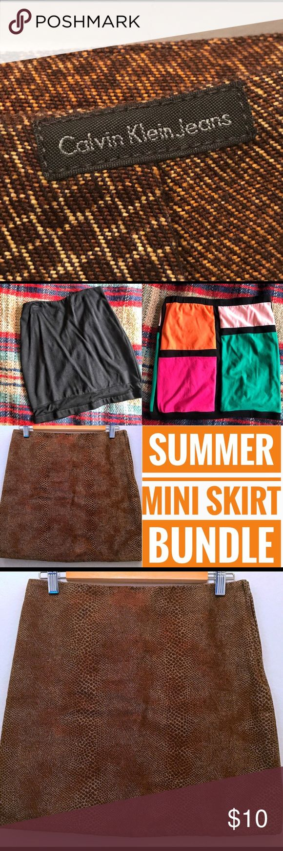 Mini Skirt Bundle 👄 CK Express Charlotte Russe 3 skirts in the bundle:  Calvin Klein Express Charlotte Russe  In good condition. Sizes Small to Medium.    Thanks for looking. 😘✌️ Bundle&Save 15% off on 2+ items Calvin Klein Skirts Mini