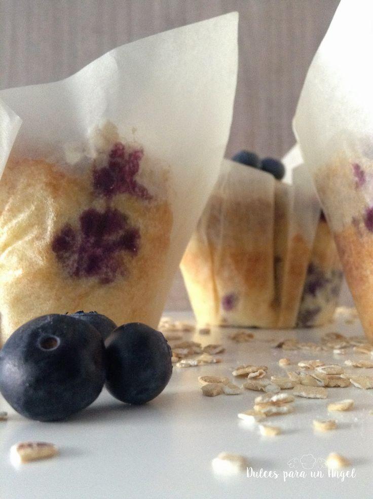 Dulces para un Angel: Muffins de arándanos con crumble de avena