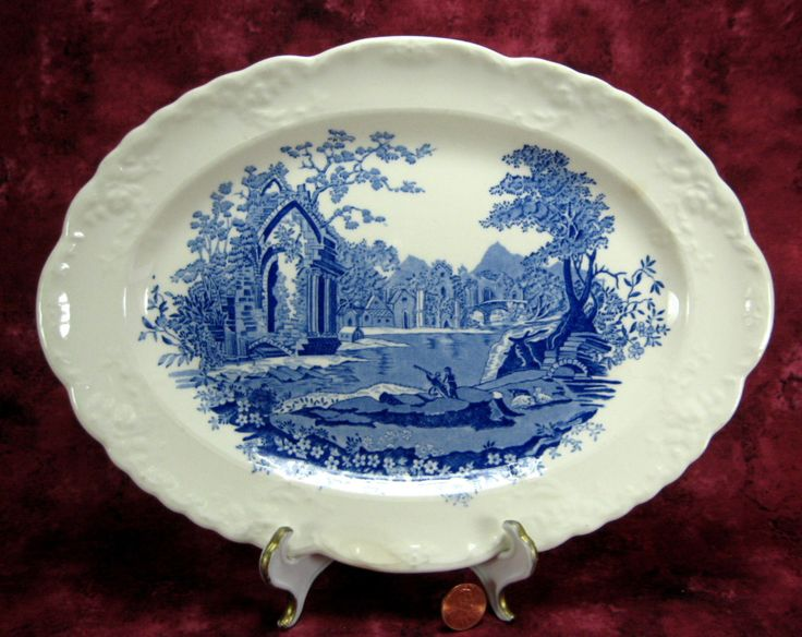 English Abbey Blue Transferware Platter 1920s Taylor Smith Taylor Large Oval Gothic Ruins 1920s