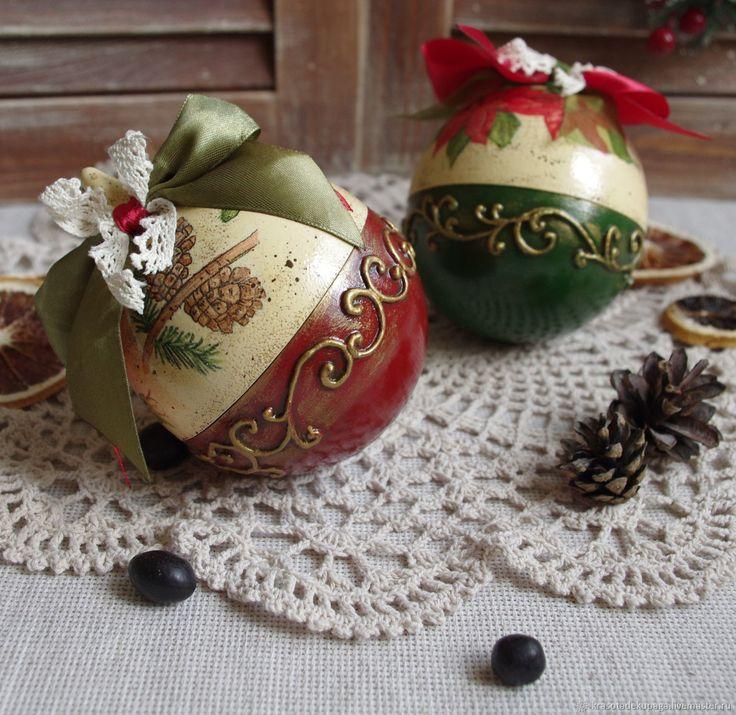 """Купить Новогодние шары """"Зимние узоры"""", декупаж в интернет магазине на Ярмарке Мастеров"""