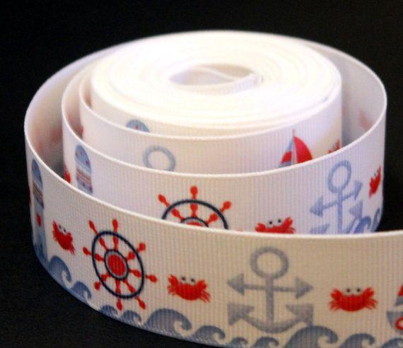 5 m  Nastro decorativo grosgrain tema marino rosso e blu di Logofantasy - nautical ribbon grosgrain red blu