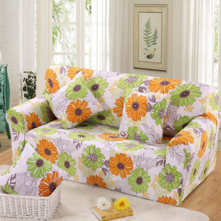 Bright sunflowers printed loveseat cover yellow green color l shaped sofa cover slipcover soft universal protector for 1-4 seat