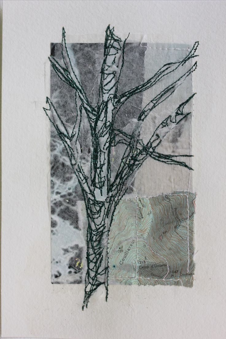 Mote Park Tree 5  £35 on 7x5 Collage and stitch(16x12cm watercolour paper)