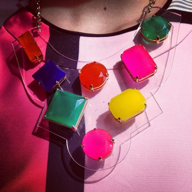A lucite necklace at the #KateSpadeNY presentation. Photo by the WSJ's Elizabeth Holmes.