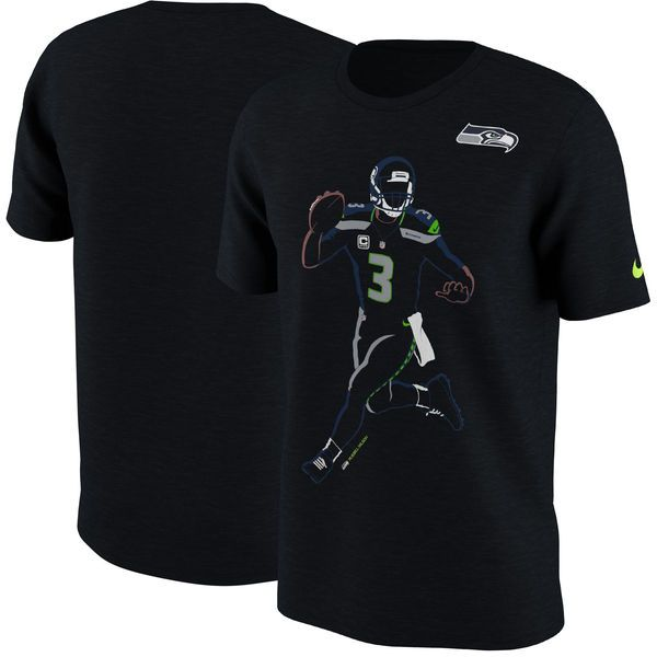 Russell Wilson Seattle Seahawks Nike Player Silhouette 2.0 Name & Number T-Shirt - Black - $31.99