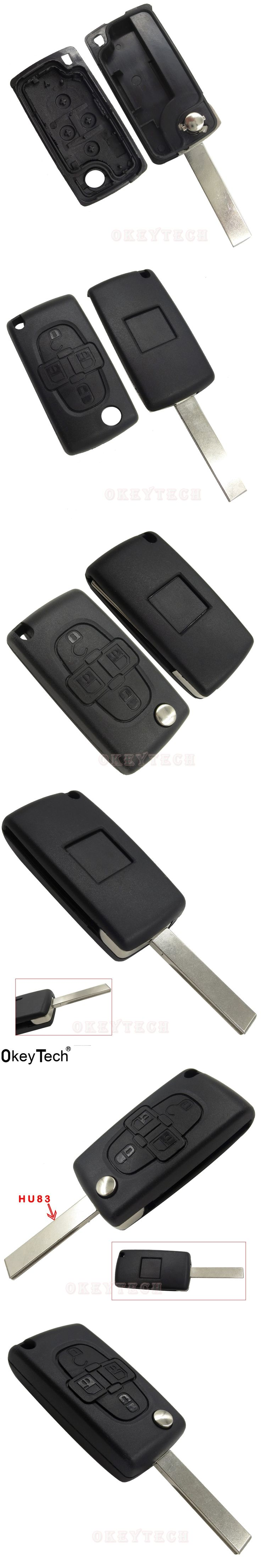 OkeyTech 4 Buttons Remote Folding Flid Car Key Case Shell Cover Fob Blade Styling For Peugeot 1007 For Citroen C8 Without Logo