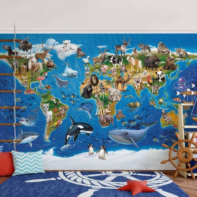 VLIES FOTOTAPETE Tiere Weltkarte bunt Animals ENG TAPETE Kinderzimmer WANDBILDER