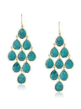 67% OFF Argento Vivo Nine Stone Turquoise Chandelier Earrings