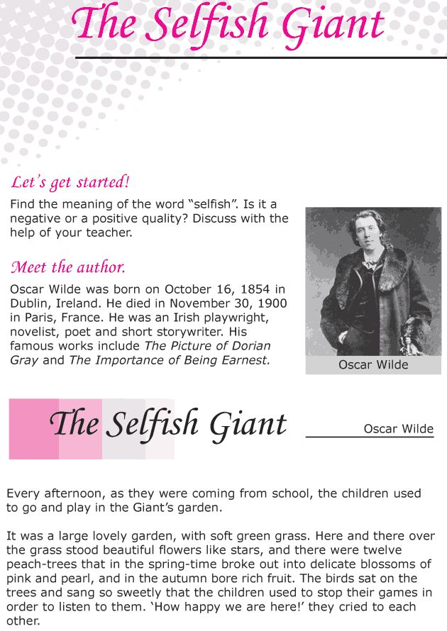 Grade 6 Reading Lesson 20 Short Stories The Selfish