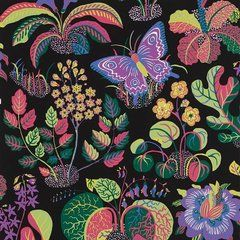 Schumacher Josef Frank Exotic Butterfly Black Multicolor Wallpaper Two Roll Set