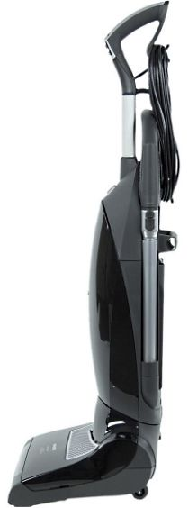 This sleek obsidian black upright vacuum is the Miele Maverick. Believe it or not this machine is at the more affordable end of the spectrum when it comes to Miele upright vacuums. It sports variable suction, is quiet, has a 39 foot power cord and excels at cleaning carpet.