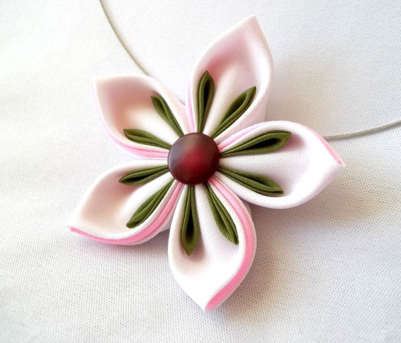 Kanzashi Pendant Fabric Flower Necklace by ScarlettandMaria, $24.00