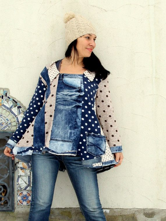L crazy polka dots and denim recycled sweater tunic by jamfashion