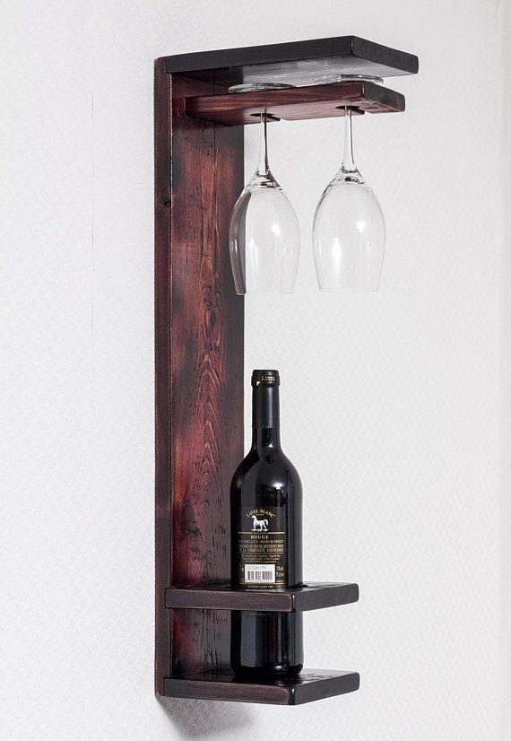 Holz Weinregal, Rustikales Weinregal, Weinflaschenhalter, Stielgläser Glashalter, Wein-Organizer, hölzerne Wand montiert Glas Wein Rack