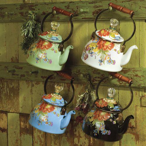 mackenzie childs tea kettle. i'll take one in green.